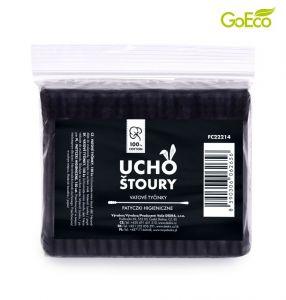 Vatové tyčinky z recyklovaného kartonu - černé 150 ks v náhradním balení