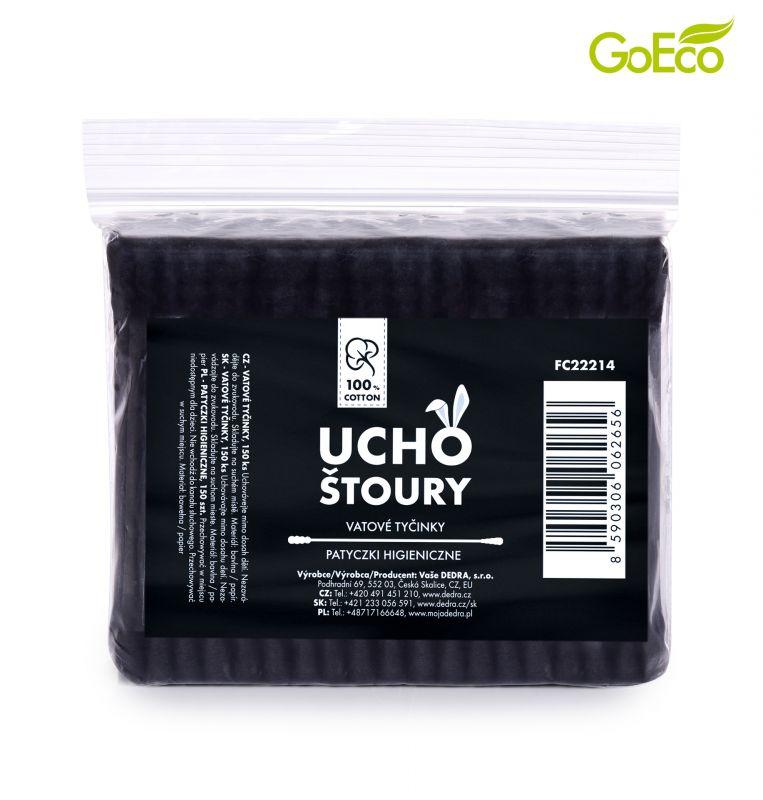 Černé EKOLOGICKÉ vatové TYČINKY z recyklovaného tvrdého kartonu & 100% BAVLNY