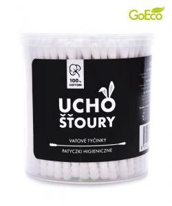 Bílé ekologické UCHOŠŤOURY 200 ks z recyklovaného tvrdého kartonu & 100% BAVLNY