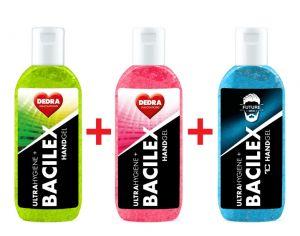 RODINNÁ SADA 2+1 ZDARMA čisticí gel na ruce, 65 % alkoholu, handGEL BACILEX ultraHYGIENE+