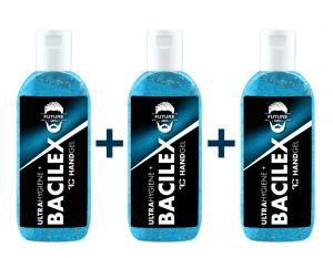 SADA 2+1 ZDARMA čisticí gel na ruce PLATINUM, 65 % alkoholu, handGEL BACILEX ultraHYGIENE+