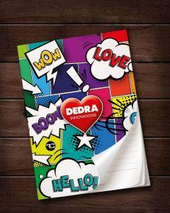 Poznámkový blok/zápisník Dedra Comics A5 vhodný na zapisování objednávek, 50 listů