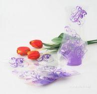 Skládací váza na květiny s fialovými ornamenty
