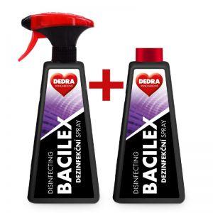 Sada 1+1 certifikovaný dezinfekční spray na plochy i respirátory, 71 % alkoholu, BACILEX®