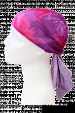 Multifunkční šátek růžovo-fialové květy pr.:45-70cm,d.:50cm