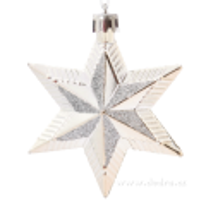 5 metalických hvězd s třpytivou malbou - stříbrné