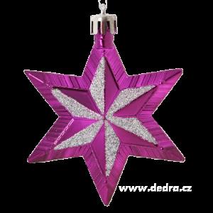 5 metalických hvězd s třpytivou malbou - fialovo-stříbné