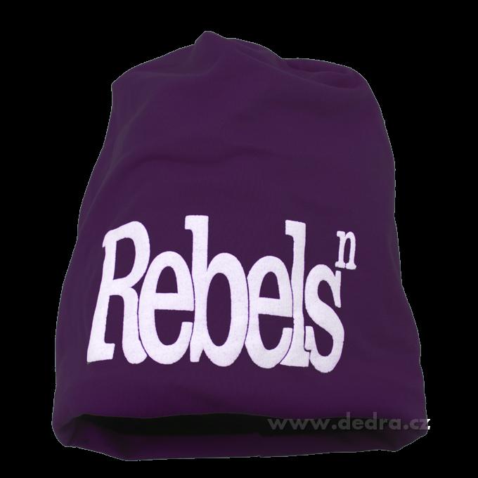 Čepice unisex s nápisem Rebels - fialová