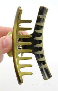 Skřipec do vlasů zelený lesklý délka 9,5 cm
