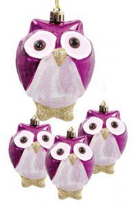 4 ks ozdob sovička fialové