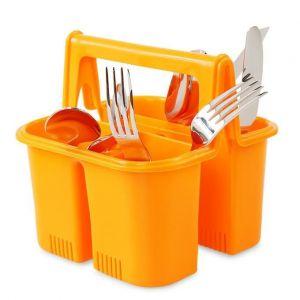 PŘÍBORNOŠ odkapávač i držák na příbory, oranžový