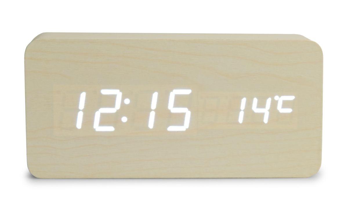 WOODOO CLOCK digitální LED dřevěné hodiny smetanové