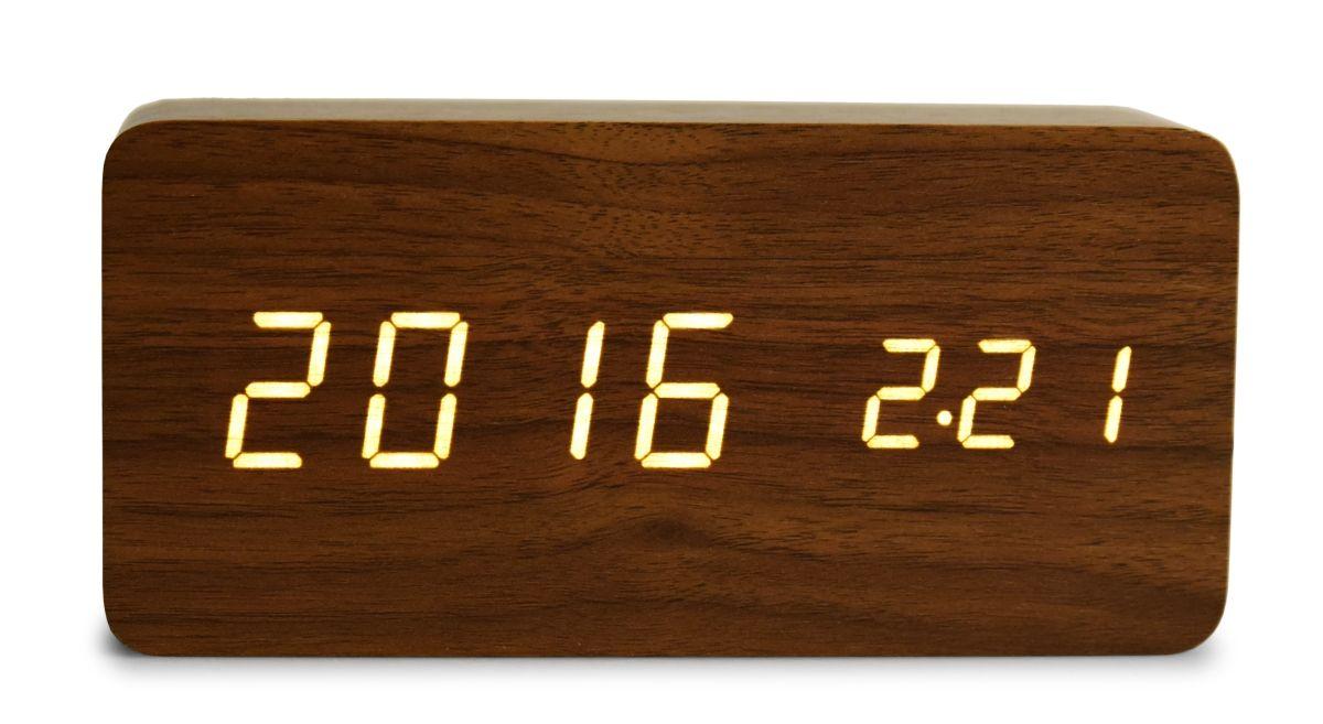 WOODOO CLOCK digitální LED dřevěné hodiny tmavé dřevo